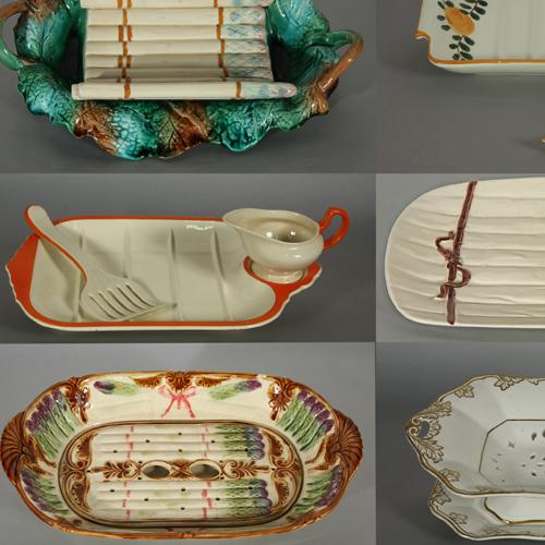 Op een bedje van klei - asperge schalen Collectie Herman van Ham